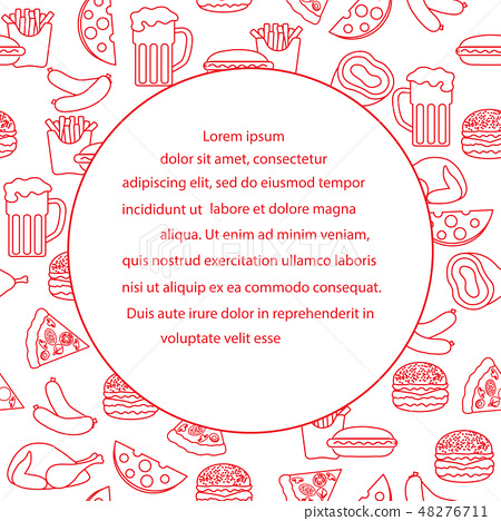 Beer, different types of food and fast food 48276711