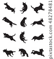 Black silhouettes of dogs in a jump 48278481