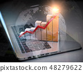 Business graph and diagram on laptop keyboard 48279622