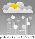 Illustration Of Cloud And Rain On Dark 48279828