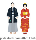 Couple in traditional Japanese costumes isolated 48281146
