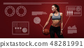 Do what you like. Sportswoman is training with ball standing over red background 48281991