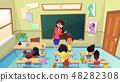 Teacher Scolding Pupil in Class Cartoon Vector 48282308