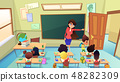 Teacher Excluding Pupil from Class Cartoon Vector 48282309