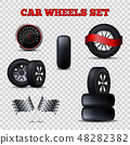 Vector Car Wheels Set Flat Tires and Speedometer. 48282382