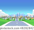 도시 도로 주택가 도시 푸른 하늘 풍경 48282842