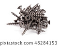 pile of metal screws isolated on white background 48284153