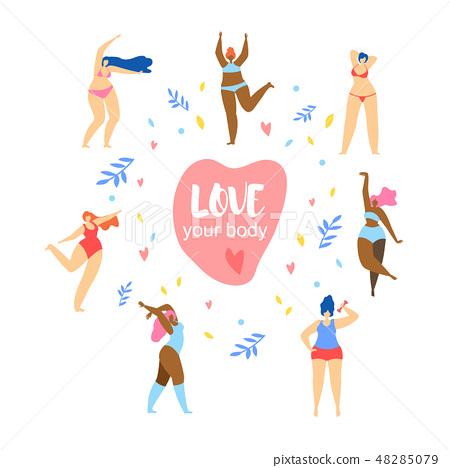 Love Your Body. Happy Women Dancing Around Heart 48285079