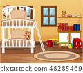 A dorm bedroom interior 48285469