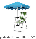 Vacation and travel concept. Beach umbrella, beach chair 3d Illustration 48286224