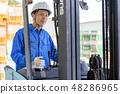 Business scene warehouse forklift 48286965