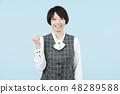 文職工作女性淡藍色背部 48289588