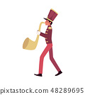 Parade and marching band participant, a red faced saxophone player plays a saxophone or trumpet. 48289695