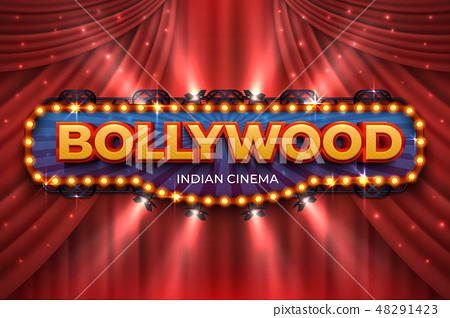 Indian cinema background. Bollywood film poster with red drapes, 3D realistic movie award stage 48291423