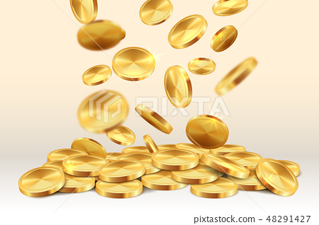 Falling golden coins. Money rain casino jackpot 3D realistic gold game winning treasure. Vector 48291427