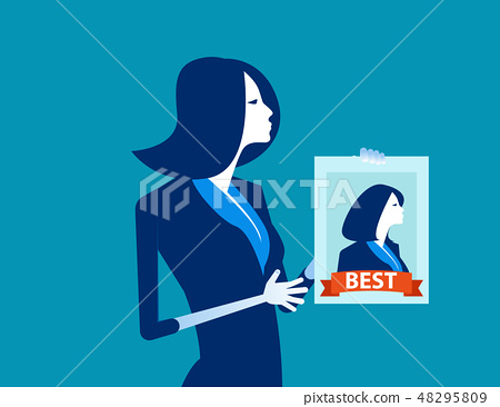 Manager holding the best worker poster.  48295809