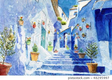 摩洛哥Chewain藍色城市非洲美好的水彩繪畫 48295997