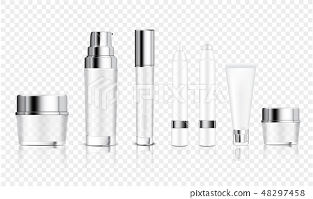 Mock up Realistic Transparent Bottle Cosmetic 48297458