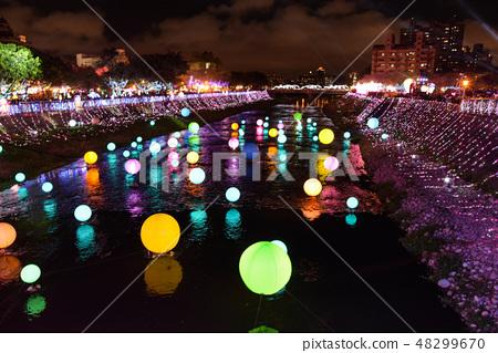 台灣桃園市 -  2019年2月17日:桃園芒果Nodong,Sanshin Light District彩繪藝術展。 48299670