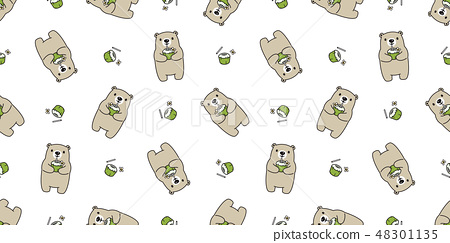 Bear seamless pattern vector polar bear coconut  48301135