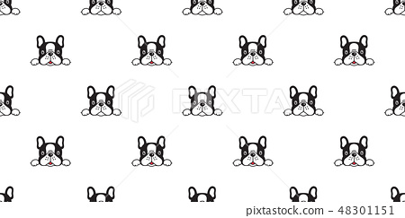 Dog seamless pattern french bulldog vector scarf  48301151