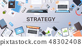 business strategy marketing plan concept top angle view desktop laptop smartphone tablet screen 48302408