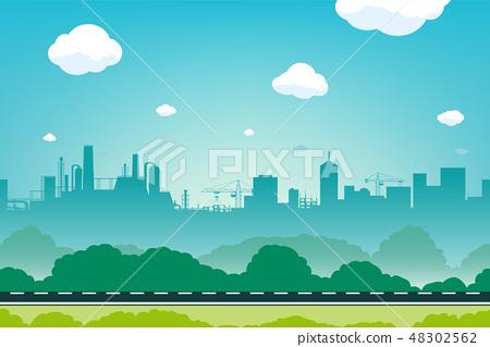 Urban landscape with empty road. Skyline city 48302562