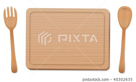 Wooden Board Fork Spoon Wood Texture 48302635