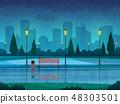 Rainy day park. Raining public park rain city nature season path bench street lamp landscape, flat 48303501