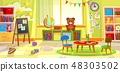 Kids playroom. Kindergarten child apartment game classroom learning toys room preschool class table 48303502