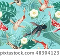 Japanese koi fishes tropical pattern 48304123