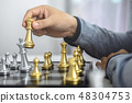 Planning and Strategic concept, Businessman playing chess and th 48304753