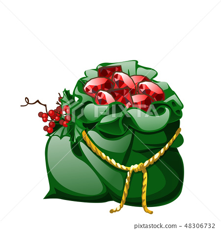 Green velvet sack tied with a golden rope with red berries of holly filled with precious stones 48306732