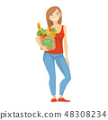Vector illustration of a woman with shopping paper bag. 48308234