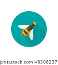 Simple Vector Illustration with a Honey Bee. 48308237