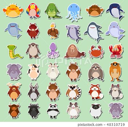 Set of animals sticker 48310719