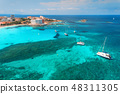 Aerial view of boats and luxury yachts in the sea  48311305