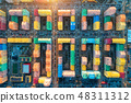 Aerial view of the colorful buildings in the city  48311312
