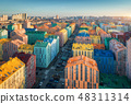 Aerial view of the colorful buildings in the city  48311314