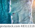 woman, wave, sea 48311316