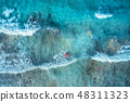 Aerial view. Swimming woman in blue sea with waves 48311323