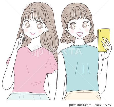 젊은 여성 여자 2 명 여름 48311575