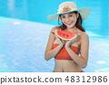 Beautiful female in bikini relaxing at the pool  48312986
