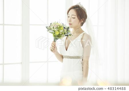 결혼,결혼식장,웨딩,웨딩드레스,섹시,젊은여자 48314488