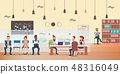 Employee Queue, People Work by Desk at Office 48316049