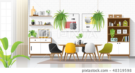 Interior background with modern dining room 48319598