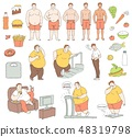 Vector healthy food fit people fastfood obese men 48319798