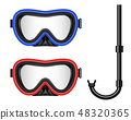 Creative vector illustration of scuba diving, swimming mask with snorkel, goggles, flippers isolated 48320365