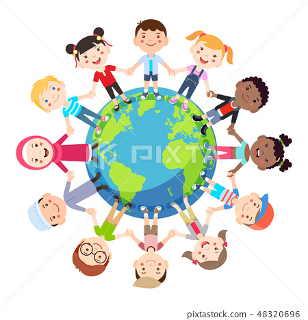 Groups of children from all around the world 48320696