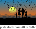 silhouette family are standing at sunset.  48322607